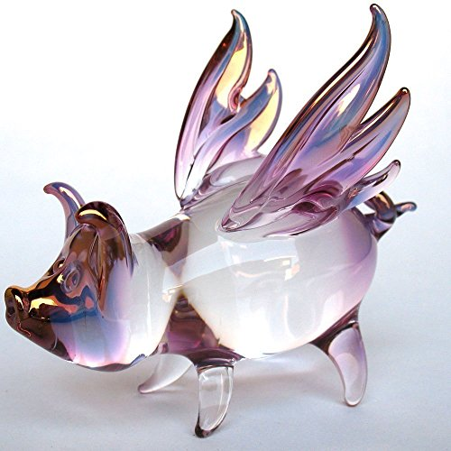 Blown Glass Pig (Flying Pig with Wings Figurine of Hand Blown Glass)