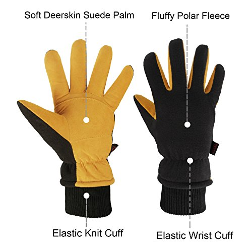 OZERO Winter Gloves with Windproof Deerskin Suede Leather and Insulated Polar Fleece Warm for Women and Men Tan-Black M