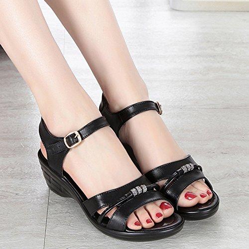 Cuir Chaussure Femme Ouvert 42 Compensée Eté CM 43 wealsex 41 Grande Sandales Boucles Confort Bout Noir Taille Simple Strass 5 40 YPxz5g