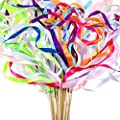 Boao 40 Pieces Mix Color Ribbon Wands Sticks with Bell Fairy Stick Party Streamers for Wedding Party