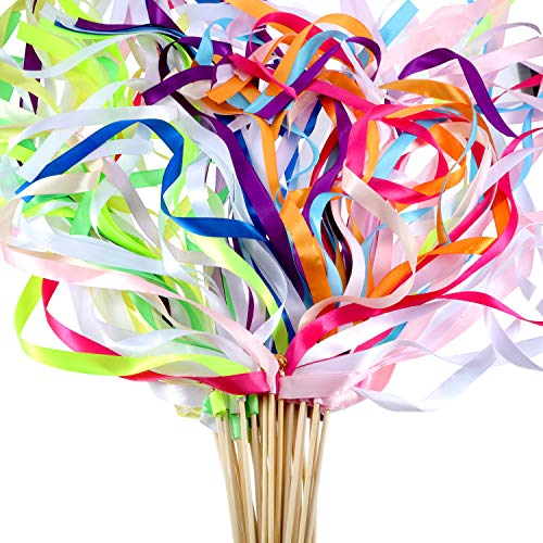 (Boao 40 Pieces Mix Color Ribbon Wands Sticks with Bell Fairy Stick Party Streamers for Wedding Party (Multicolor))