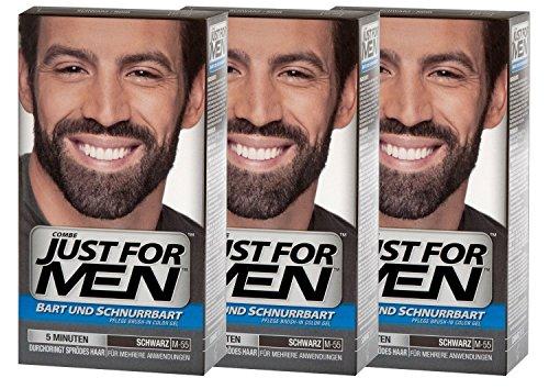 Just For Men Brush in Color Gelformel Bart Und Schnurrbart, schwarz, 3er Pack, 1er Pack (1 x 28 g)