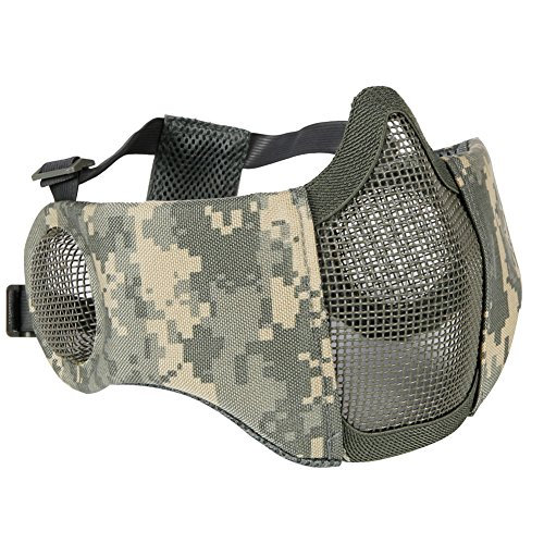 Aoutacc Airsoft Mesh Mask, Half Face Mesh Masks with Ear Protection for CS/Hunting/Paintball/Shooting (Mesh Ear, ACU)