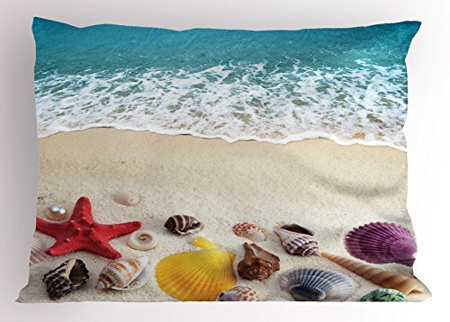 (Ambesonne Beach Pillow Sham, Sea Shells on Sandy Coast Tropical Island Shore Summertime Travel Vacation Picture, Decorative Standard King Size Printed Pillowcase, 36 X 20 Inches, Multicolor)