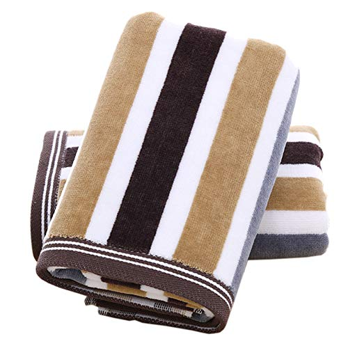 Pidada Hand Towels Set of 2 100% Cotton Striped Pattern Absorbent Soft Towel for Bathroom 13 x 29.5 Inch (Brown)