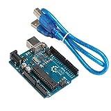 DROK UNO R3 Board ATmega328P Atmega16u2 Development Board with USB Cable for Arduino - Compatible With Arduino UNO R3 Mega 2560 Nano Robot