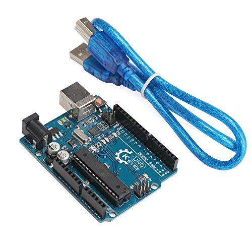DROK UNO R3 Board ATmega328P Atmega16u2 Development Board with USB Cable for Arduino - Compatible With Arduino UNO R3 Mega 2560 Nano Robot by DROK