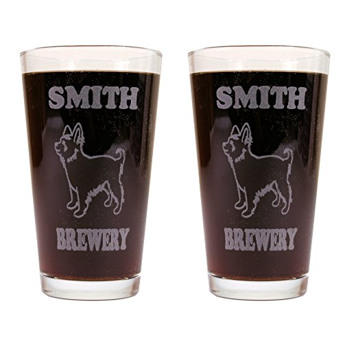 Personalized Custom Beer Mugs With Dog Breeds - 2 Pack of Made in USA Pint Glasses (Yorkie) (Personilized Gifts)