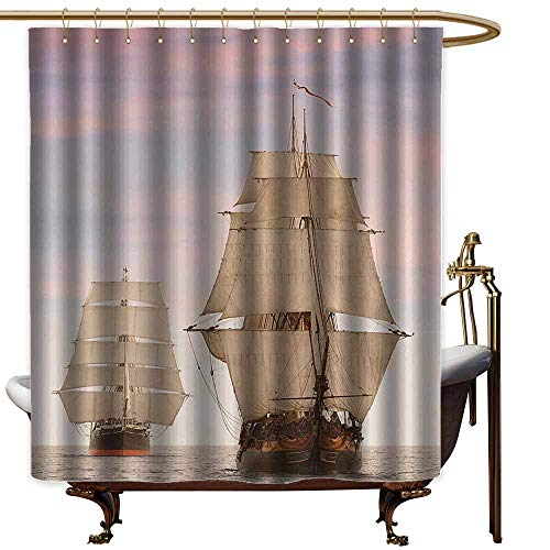 StarsART Shower Curtains with Blue Ocean,Sailboat Gaff Top Sail Tall Wooden Sailing Ships Waves Art Print Photo,Cream and Blue Grey,W69 x L72,Shower Curtain for Bathroom