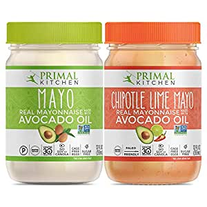 Primal Kitchen Avocado Oil Mayo Variety Pack- Includes 1 Original and 1 Chipotle Lime, Gluten and Dairy Free, Whole 30 and Paleo Approved (12 oz) - Two Pack