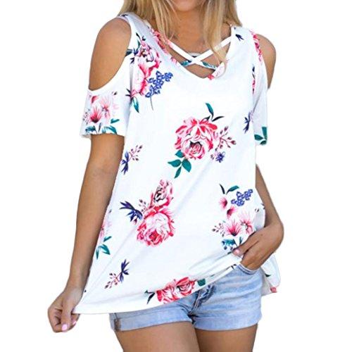 OverDose mujer blusa camiseta attracitve sin tirantes de manga corta de impresión remata la blusa Blanco