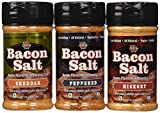 Bacon Salt Sampler 3 Pack - Cheddar, Peppered & Hickory Bacon Flavored Salts Set