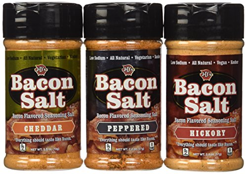 Bacon Flavored Salt Sampler 3 Pack - Cheddar, Peppered & Hickory (Bacon Salt Flavored)