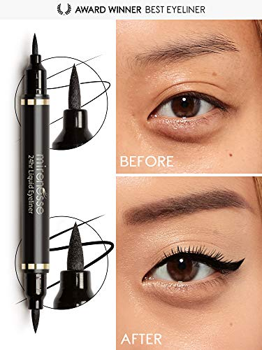 (Mirenesse Define Art Duet Jet Black Eyeliner, 2 in 1 Thick & Thin, Award Winning 24hr Liquid Pen Eye Liner, Long Lasting, Paraben Free for Sensitive Eyes, Oil & Waterproof, Vegan, Glossy Black 0.05oz)
