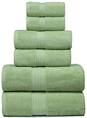 Bath Towels In 100% Ring Spun Combed Cotton With Luxurious & Ultra Soft,Highly Absorbent,Bathroom Towels,Bath Towel Set,Bath Towel Cotton,Bath towel- 27x54- Green (Set of 6 (2 Spun Bamboo)