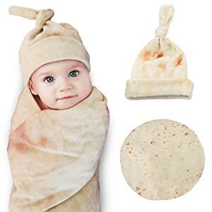 Kakaya Burrito Swaddle Blanket for Baby,Tortilla Wrap Blanket with Hat,Super Soft,Great Gift for Baby Shower by Higher Comfort,Safe(Round,Yellow,35inch)