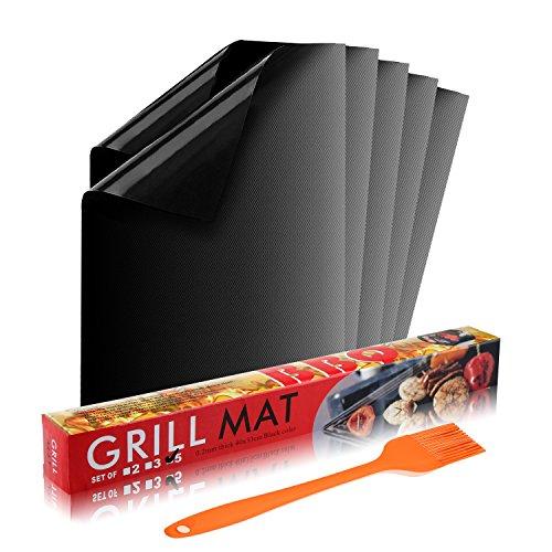 Grillmatte (5er Set) Antihaft zum Grillen und Backen | aus Silikon mit Teflon Antihaftbeschichtung für bis 300°C | Wiederverwendbar | je 40x33 cm| mit Premium Silikon grillpinsel