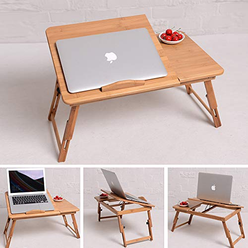 i Foldable Breakfast Serving Bed Tray Adjustable Lap Desk with Flip Top Bamboo ()