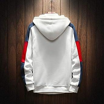 Michealboy Mens Contrast Color Pullover Outdoor Fleece Hooded Sweatshirt