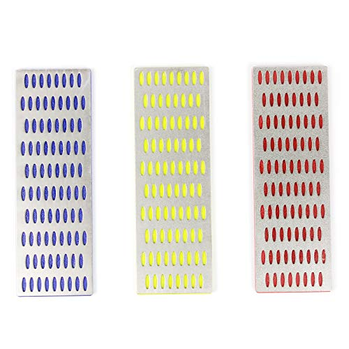 Diamond Whetstone Models Set, PANGOLIN Diamond Sharpening Bench Stone Set Include 3 Pcs-Coarse,Fine and Extra Fine