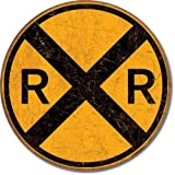 "Vintage Style Railroad Crossing 12"" Round Metal Sign"