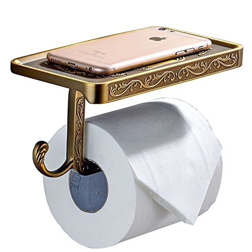 - ThinkTop Antique Carving Toilet Roll Paper Holder with Phone Shelf Wall Mounted Bathroom Paper Rack And Hook-Brown