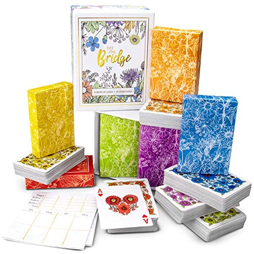 Let's Play Bridge | 6 Decks of Colorful, Watercolor Inspired Floral Playing Cards | Special Low-Vision 4-Color Index! | Classic Family Game Includes 25 Scorecards