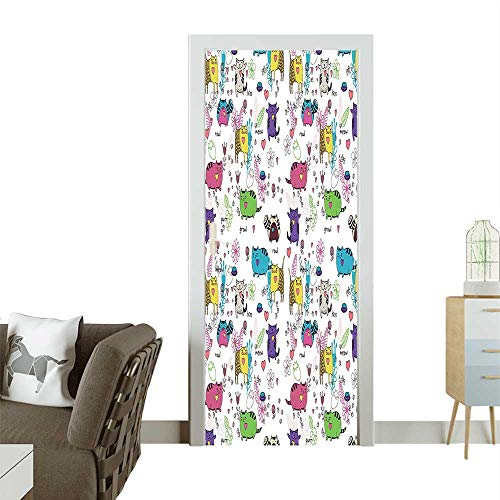 - Door Sticker Wall Decals Unusual Flower He Figur Baby Kids Child Easy to Peel and StickW38.5 x H77 INCH