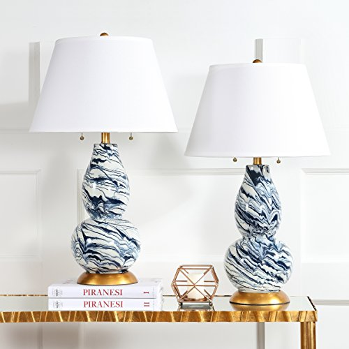 Safavieh Lighting Collection Color Swirls Navy and White 28.5-inch Table Lamp (Set of 2) (Lamps Navy)