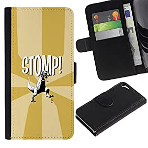 // PHONE CASE GIFT // Moda Estuche Funda de Cuero Billetera Tarjeta de crédito dinero bolsa Cubierta de proteccion Caso Apple Iphone 5 / 5S / Funny T-Rex - Stomp - Dinosaur /