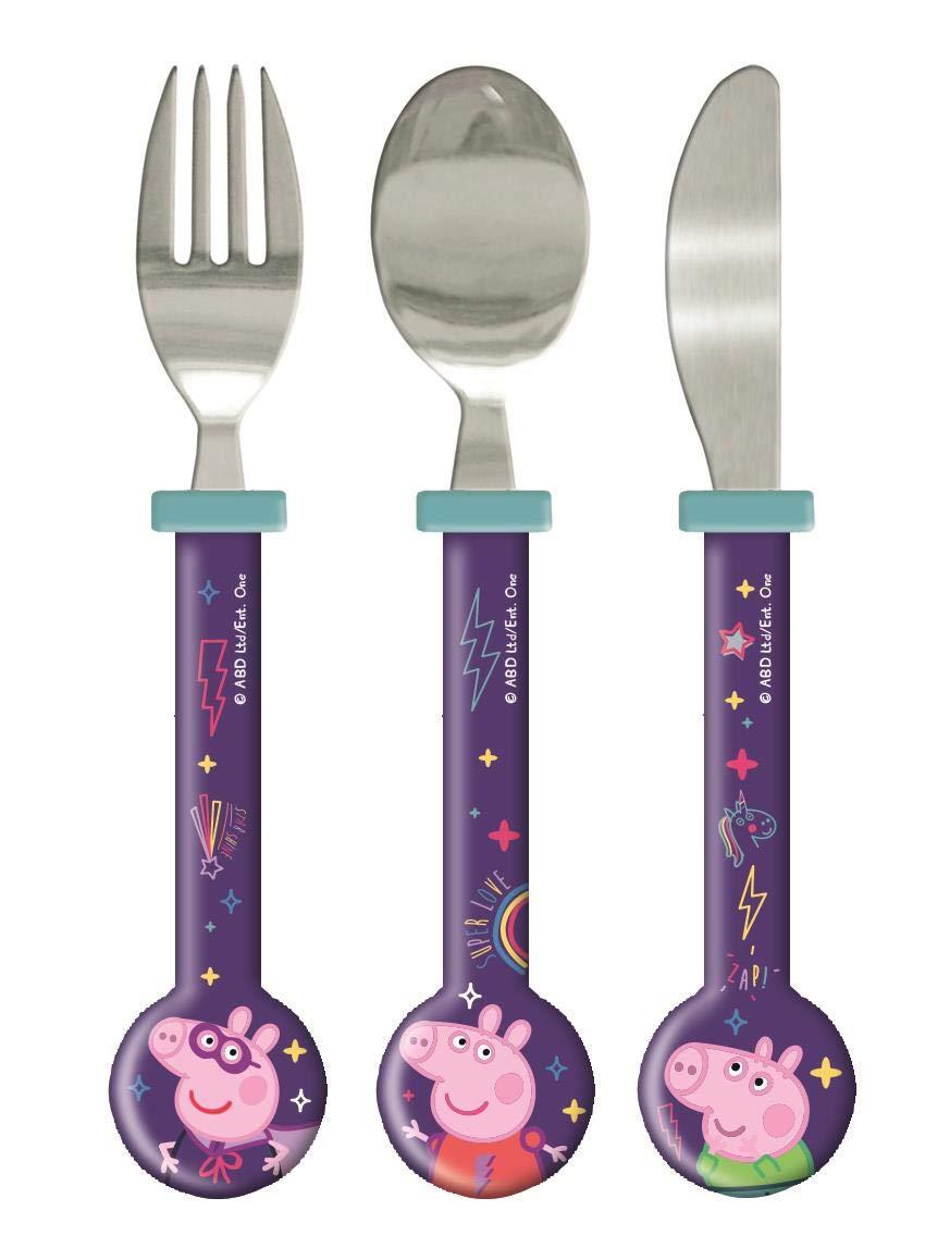 Peppa Pig Cosmic Wonder 3 Piece Round Cutlery Set for Kids