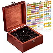 Stained and Finished Essential Oil Box, Holds 25 Bottles (Sizes 5-15ml) & 10ml Roller Bottles - Comes With 192 Colorful Essential Oil Labels- Foam Base To Protect The Glass On Your Bottles