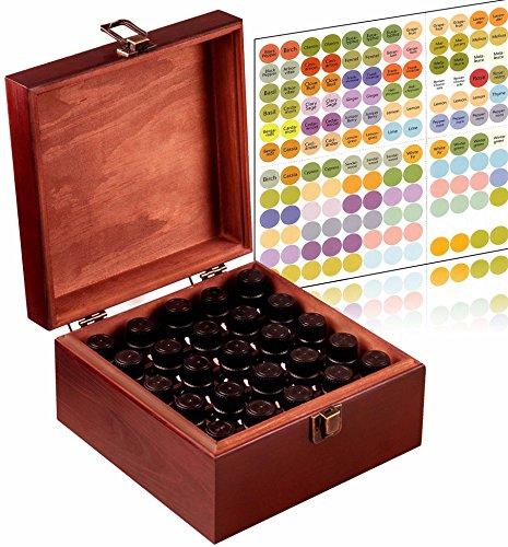 Essential Oil Storage Box Organizer 25 Bottle - Holds 5-15ml & 10ml Roller Bottles - Free Roller Bottle Opener & 192 Essential Oil ()