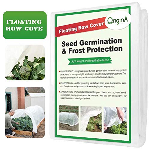OriginA Plant Row Cover & Frost Blanket for Garden, 0.55 oz/sq.yd, 10x12ft,Seed Germination & Frost Protection Cover