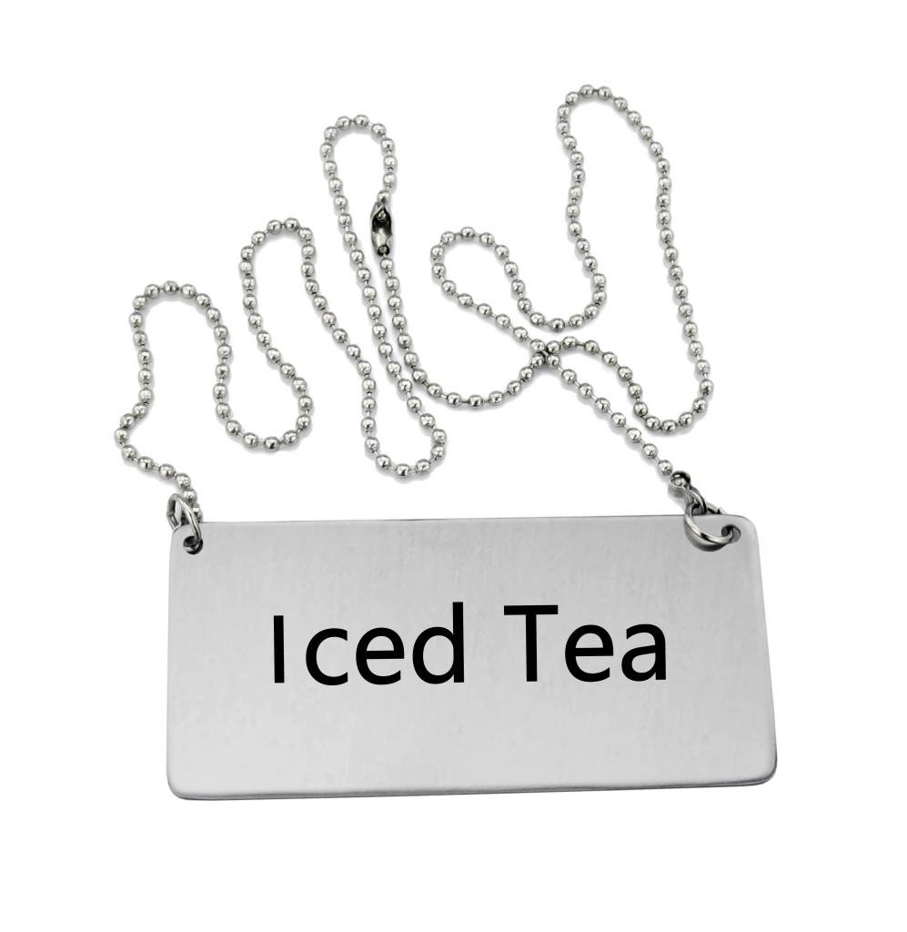 New Star Foodservice 27495 Stainless Steel Chain Sign, ''Iced Tea'', 3-1/2-Inch by 1-1/2-Inch, Set of 6