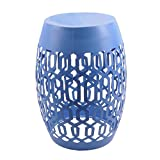 Mainstays Selma Cutout Outdoor Garden Stool, blue