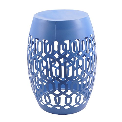 Mainstays Selma Cutout Outdoor Garden Stool, blue by General