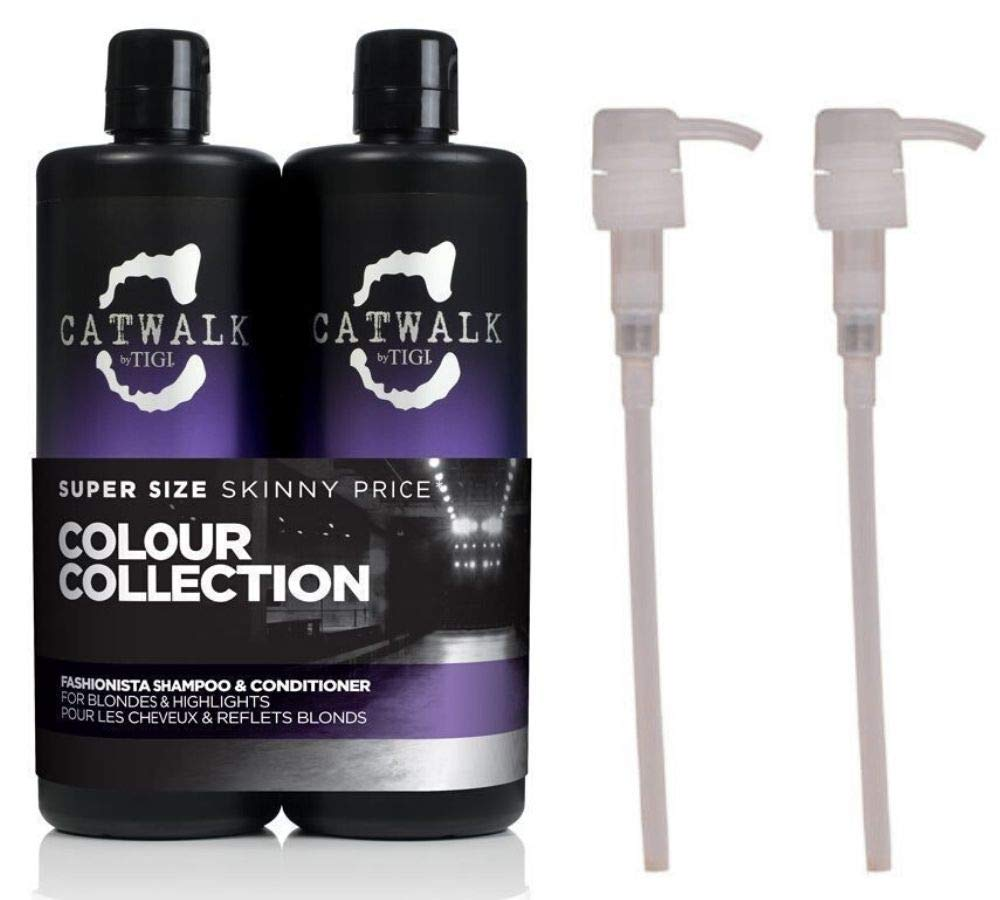 Tigi Catwalk Fashionista Violet Tween Duo Shampoo and Conditioner for Blonde Coloured Hair 2x750 ml with FREE Pumps