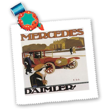 3dRose qs_129970_5 Vintage Mercedes Daimler Automobile Advertising Poster Quilt Square, 14 by 14-Inch