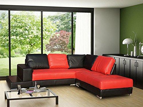 Rabatti Dortmund Stylish Designer Sofa mit Schlaffunktion, kunstleder Schwarz-Rot, Schnekelmaß 250 x 220 cm, Ecksofa Couch Schlafsofa Ottomane Rechts