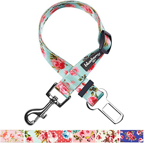 Blueberry Pet Spring Scent Inspired Floral Rose Print Turquoise Adjustable Dog Seat Belt Tether for Dogs Cats, Durable Safety Car Vehicle Seatbelts Leads Use with Harness
