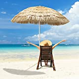 APARESSE 7ft Hula Thatched Tiki Umbrella Patio Hawaiian Style Beach Umbrella, Natural Color