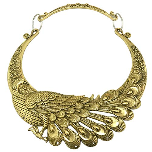 WXART Retro Carved Peacock Collar Choker Indian Exaggerated Jewelry Collared Vintage Necklace for Women and Teens ()