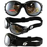 Red Baron Motorcycle Aviator Goggles Black Padded Frame Anti Fog Driving Mirror Lens with Micro Fiber Pouch