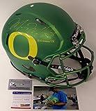 Marcus Mariota Autographed Hand Signed Oregon Ducks Apple Green Full Size Authentic Speed Football Helmet - with Heisman 2014 Inscription - PSA/DNA