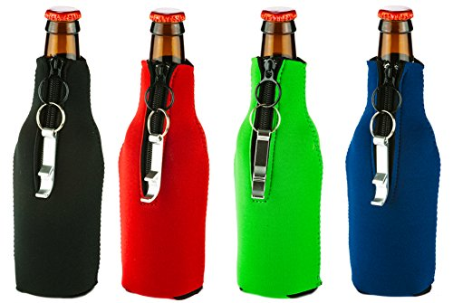 Funny Guy Mugs Premium Plain Collapsible Neoprene Bottle, Mullti-Colored, Set of Four With Bottle Openers (Last Mission Insulated Jacket)