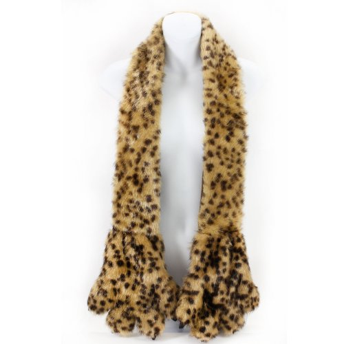AN Fun Winter Accessory Fleece Lined Furry Faux Fur Scarf Stole with Animal Claws Paws Pockets Mitten (Cheetah) -