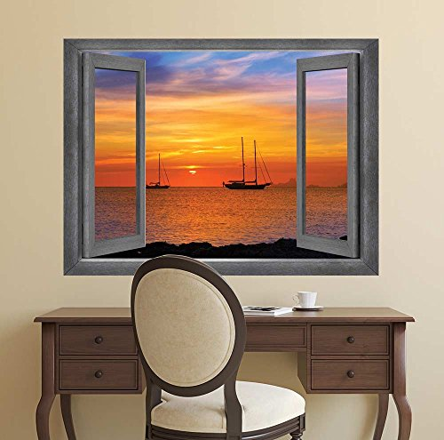 Open Window Creative Wall Decor A Bay Side View at Sunset Wall Mural