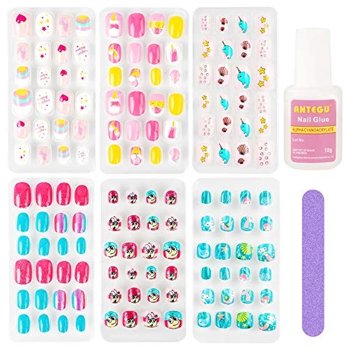 Kids Press On Nails for Girls, Kids Stick on Nails for Little Girls, Kids Fake Nails Kit with Glue for Teens Toddler with Cute Design, 6 Pack 144 Pcs Short Square False Nails for 4-12 Year Old , 10g Glue Nail File Included