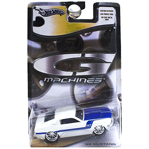 Hot Wheels G Machines 1968 Ford Mustang Fastback White and Blue 1:50 Scale Hot Wheels G Machines